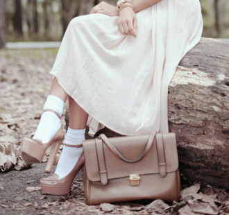 skirt long midi skirt white polka dots pastel socks patent leather high heels bag brown shoes