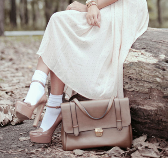 midi skirt skirt white long polka dots pastel socks patent leather high heels bag brown shoes
