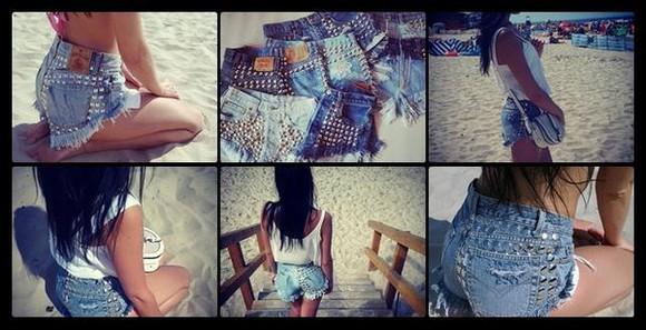 girl levi's levi jeans vintage denim shorts High waisted shorts studded shorts sexy shorts