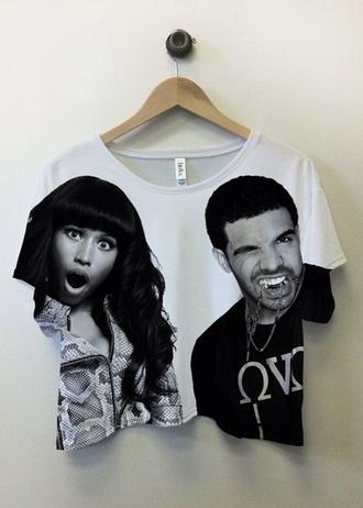 tank top blouse nicki minaj drake t-shirt shirt white short nicki minaj and drake