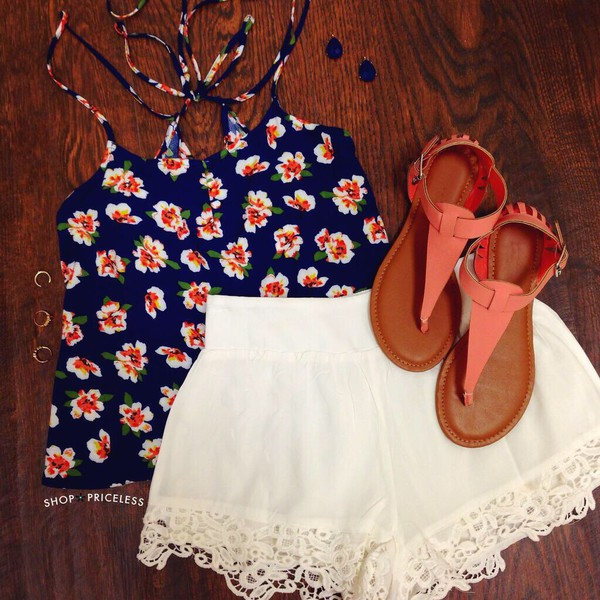 navy coral shirt white shorts sandles shoes clothes sunmer floral tank top floral blouse flowers