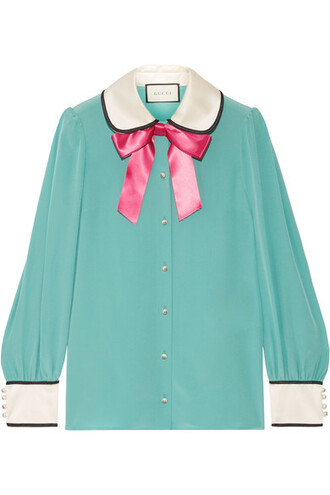 blouse bow embellished silk satin top