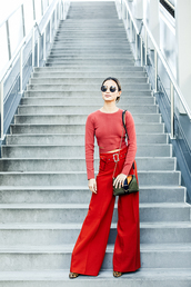 pants,top,wide-leg pants,jamie chung,red,spring,spring outfits,blogger