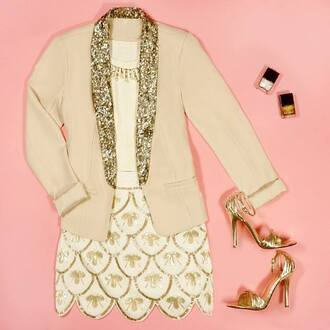 skirt sequins gold jacket shoes