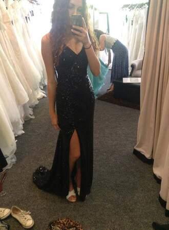 dress black dress sequin dress prom dress ball dress spaghetti straps dress