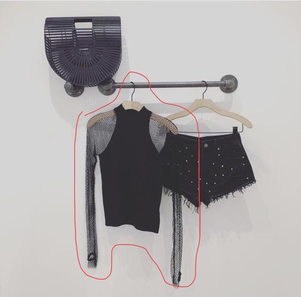 shirt black fishnet top