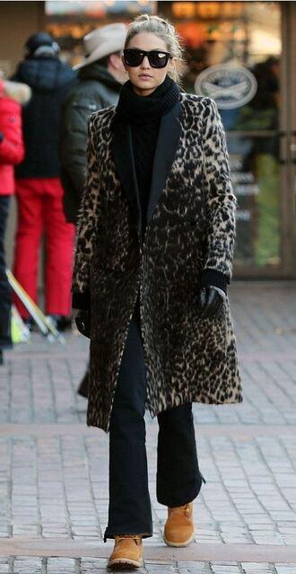 coat leopard print winter outfits timberland sweater turtleneck gigi hadid