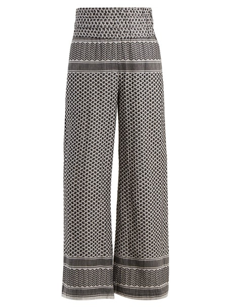 CECILIE COPENHAGEN jacquard cotton white black pants