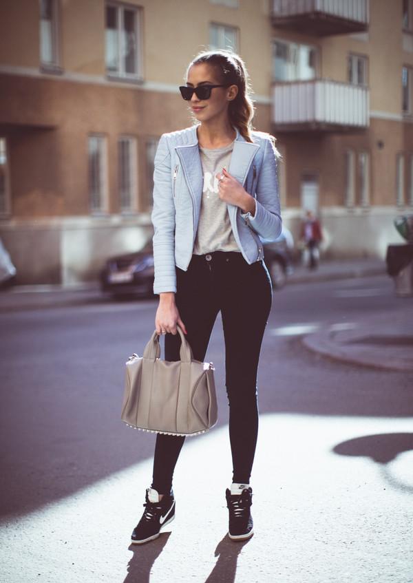 kenza jacket t-shirt jeans shoes bag sunglasses motorcycle jacket leather jacket baby blue