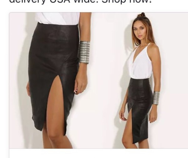 Black leather midi pencil skirt – Cool novelties of fashion 2017 ...