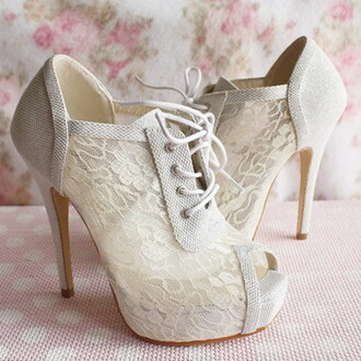 shoes lace heels peep toe high heels pumps fashion white cream lolita style cute girly lace up stilettos ankle boots romantic
