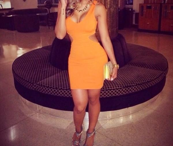 dress orange dress sexy dress