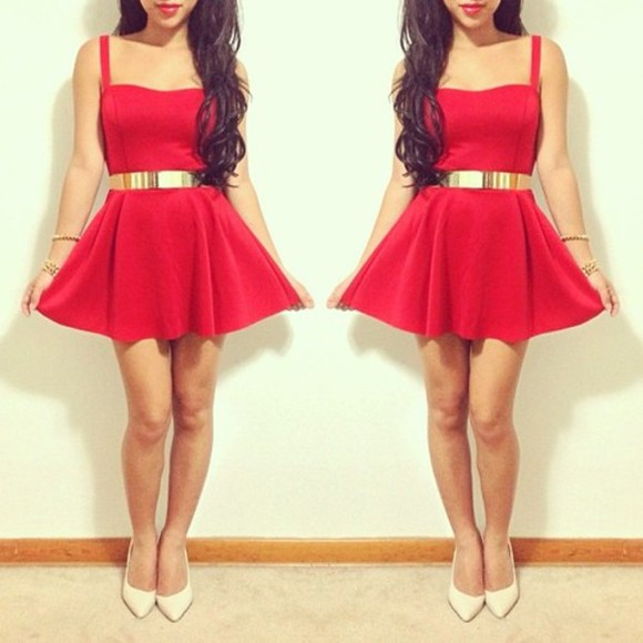 red dress party dress dress skater dress glamorous tumblr going out
