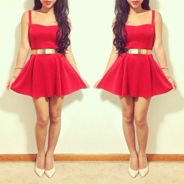 dress red dress skater dress glamour tumblr party dress going out belt red flowy cirlce skirt gold chic flirty heart line gold belt mirror image skater skirt beautiful red dress musthave gold belt sweetheart dress valentine classy dress ceinture hot skater girly red mini dress