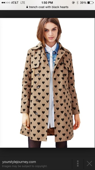 coat trench coat heart camel coat