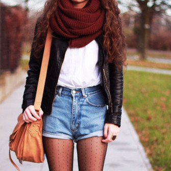 scarf jacket clothes scarf] leather jacket denim shorts high waist stockings shirt bag fall outfits fall outfits hipster shorts scarf infinity scarf cardigan scarf red