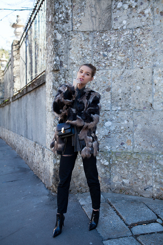 the fashion fruit blogger fur coat printed fur jacket fur jacket pants black pants bag black bag winter date night outfit boots high heels boots ankle boots black boots