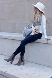 hat,tumblr,felt hat,white hat,denim,jeans,blue jeans,skinny jeans,boots,high heels boots,grey boots,ankle boots,top,white top,bag,grey bag,scarf