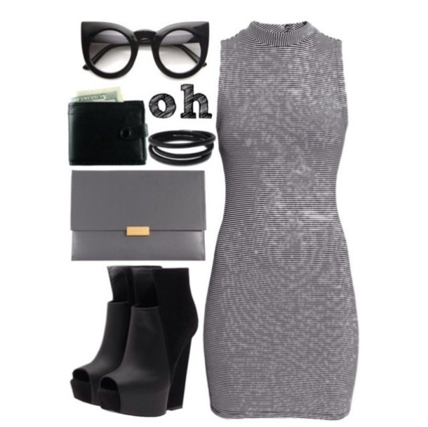 dress booties clutch glasses sunglasses bag shoes
