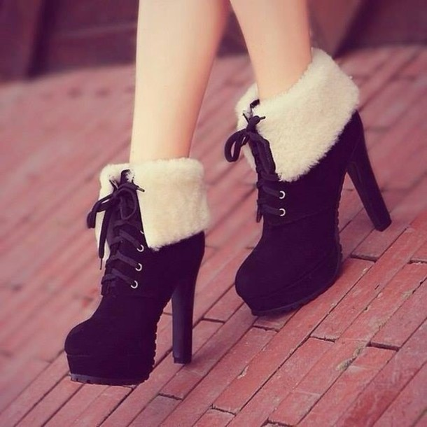 shoes black heels ankle boots feathers boots white fashion high heels cute shoes laceshoes lace-up shoes lace dress platform shoes platform lace up boots winter boots shearling boots winter boots