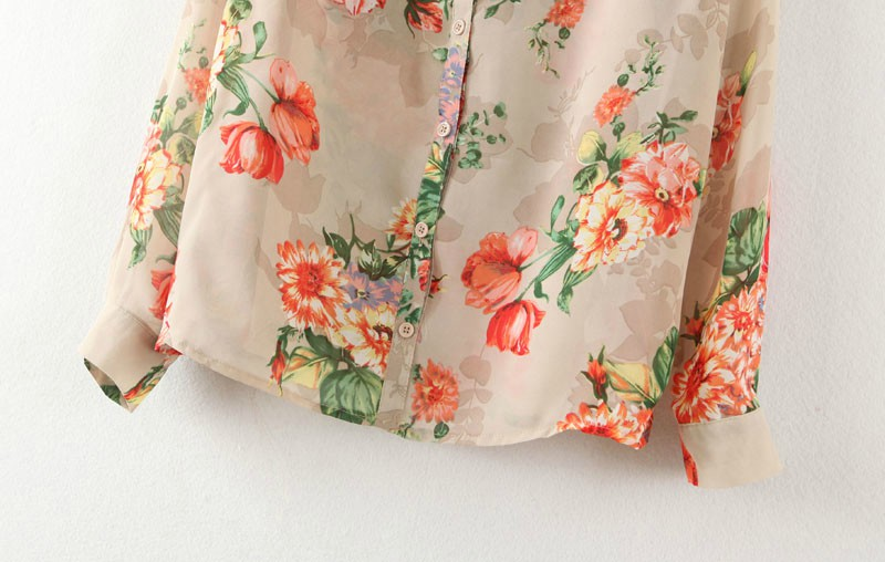 Khaiki Long Sleeve Florals Print Lapel Blouse - Sheinside.com