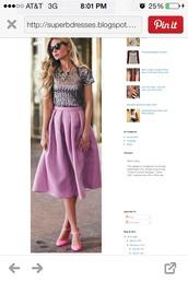 skirt,midi skirt,heels,lavender,box pleated,bubblegum pink