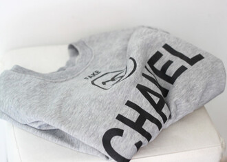 sweater beautiful chanel grey sweater t-shirt black chanel t-shirt shirt blouse fake grey cc shirt grey t-shirt chanel inspired sweatshirt hipster menswear female fall outfits jumper warm chanel sweater winter sweater