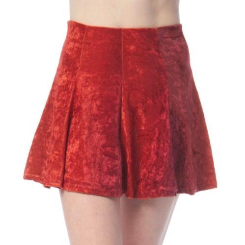 New American Clothing Red Crush Velvet High Waist Mini Skate Skirt All Sizes USA | eBay