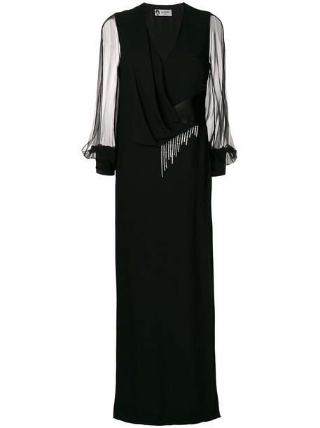 lanvin gown women embellished draped black silk dress