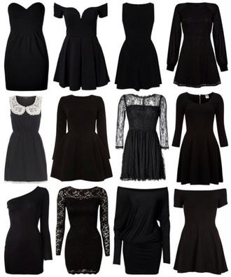 dress black black dress little black dress cute cute dress tumblr grunge lace long sleeves short sleeve no sleeve collar no shoulder sweetheart dress goth clothes