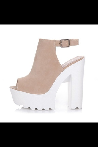 shoes platform shoes beige nude suede heels high heels open toes white