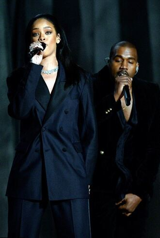 jacket suit blazer pants rihanna kanye west grammys 2015