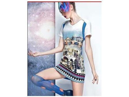 Free shipping 2014 fashion women short sleeve dress summer printting straight dresses L0824 | Amazing Shoes UK