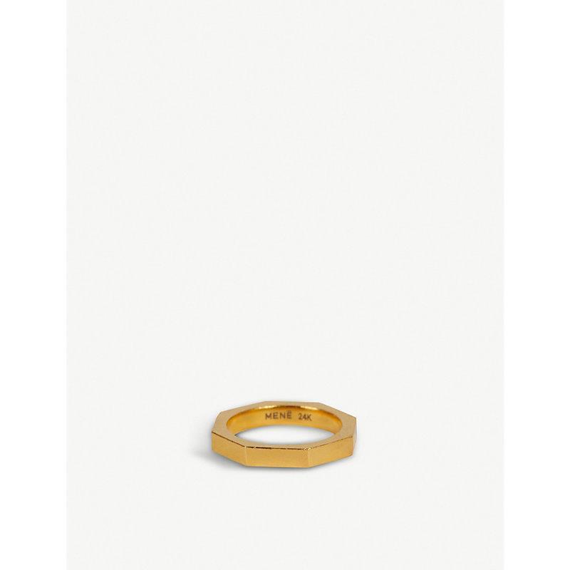 Narrow Octagonal 24ct yellow-gold ring