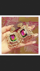 jewels,gold,earrings,jewelry,pink,green