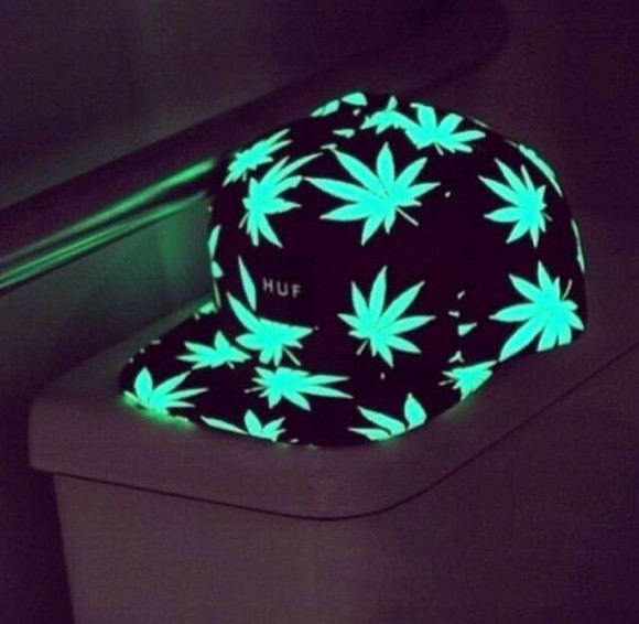 weed leaf weed green hat stoner stoners glow in the dark cap