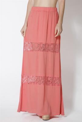 Paradise dreams lace paneled gauze maxi skirt in coral
