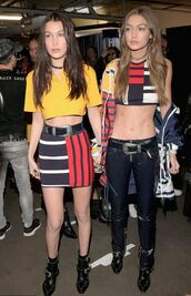 skirt,top,crop tops,gigi hadid,bella hadid,hadid sisters,model,pants,jacket,mini skirt,tommy hilfiger,colorblock,western belt