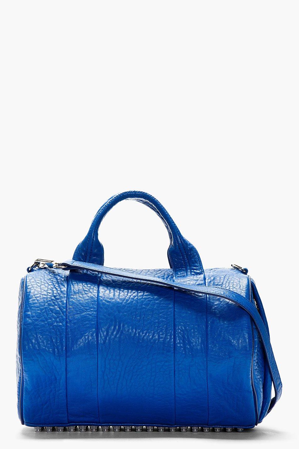 Alexander wang blue grained lambskin rocco duffle bag