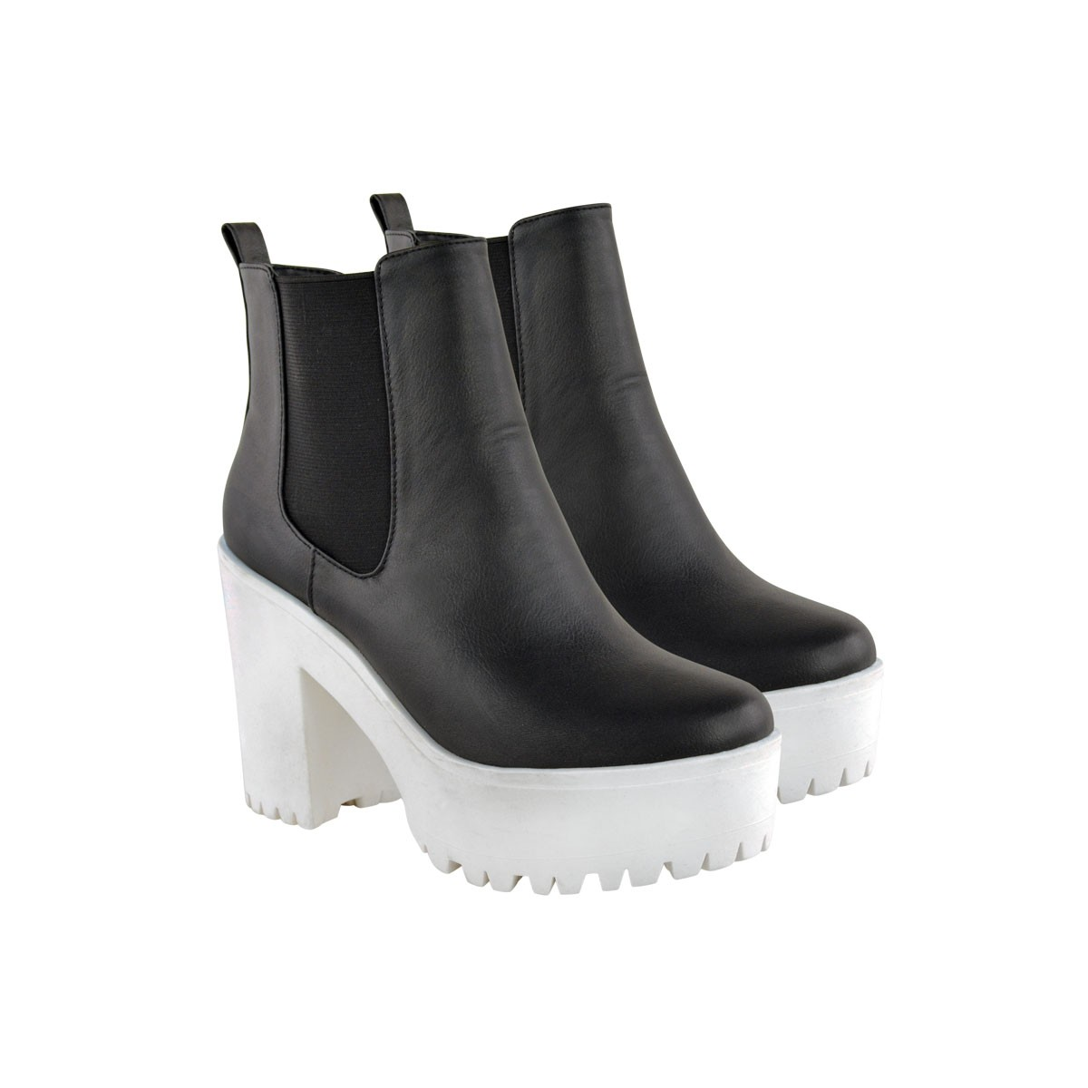 Monochrome Suede Cleated Sole Chunky Platform Boots - Delphine