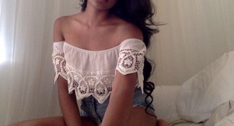 top lace crop tops white off the shoulder top
