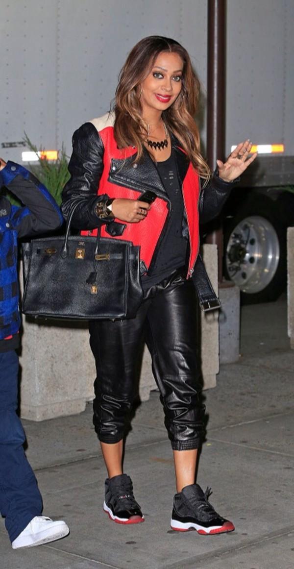 jacket celebrity style cute leather jacket red dope pretty stylish fashion belt studs pants
