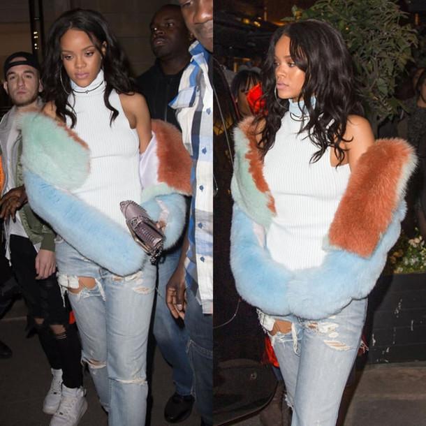 jacket fur fur coat fur jacket rihanna fashion week 2015