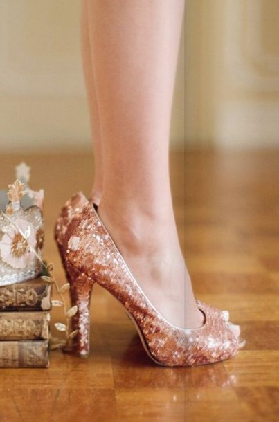shoes glitter gold champagne rose gold legs peep toe heels rose