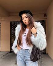 jacket,tumblr,white jacket,hat,fisherman cap,denim,jeans,blue jeans,bag,t-shirt,white t-shirt,fur jacket