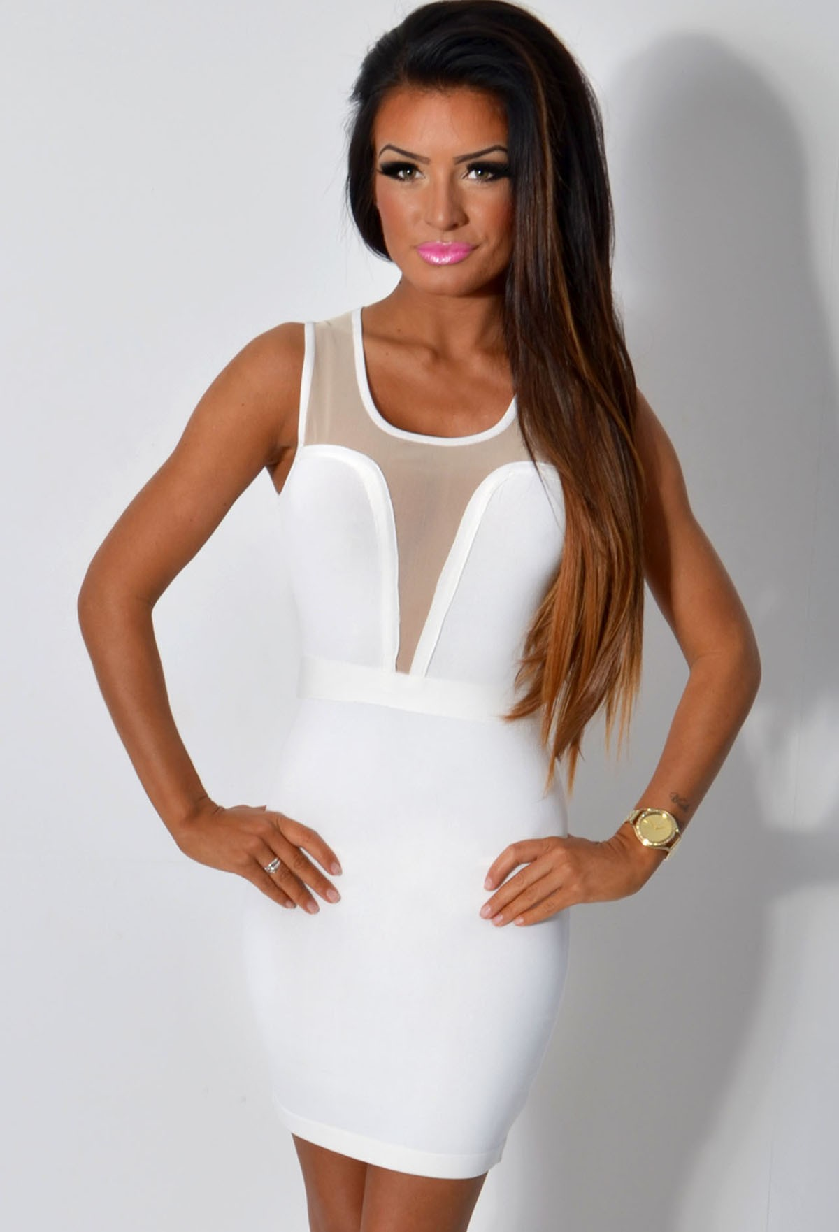 Emese LUXE Ivory and Nude Mesh Panel Bandage Dress | Pink Boutique