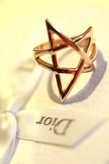 Hollow Pentagram Ring [FUBJ00166] - PersunMall.com