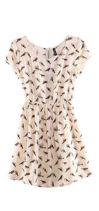 dress birds vintage vintage dress chiffon chiffon dress mini dress