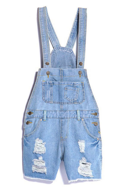 f9b7247ee9 ROMWE | Ripped Pocketed Light-blue Denim Jumpsuit, The Latest Street Fashion