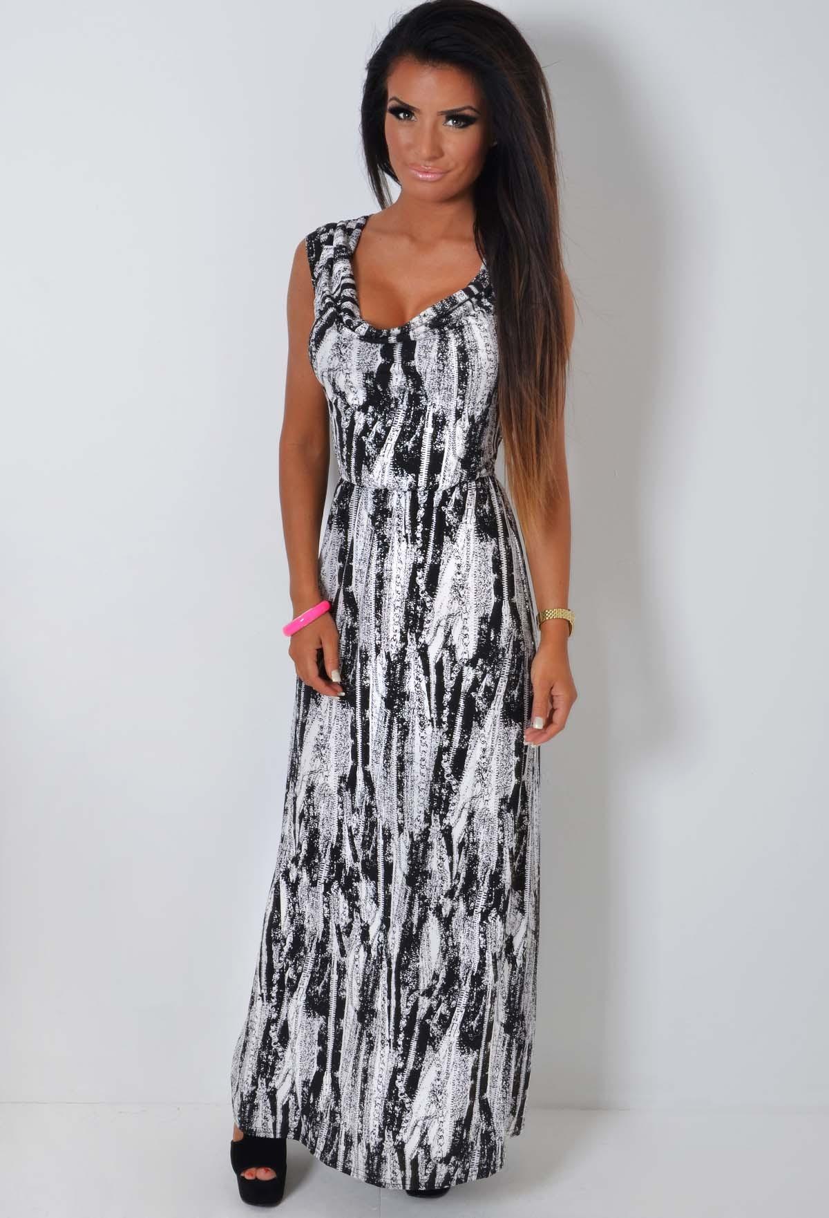 Pasini Black and White Draped Neck Maxi Dress | Pink Boutique